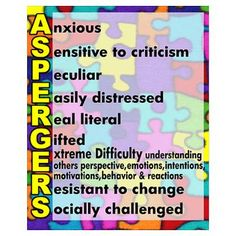 """Asperger's poster--Not so sure about including """"peculiar""""..."""