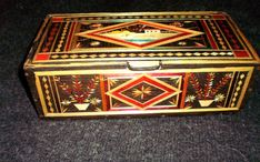 Russia, Soviet Union, wooden box, handmade, picture of colored straw - 2.World War