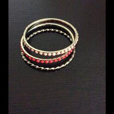 Set of 3 Bangles Worn a few times. Super cute! Jewelry Bracelets