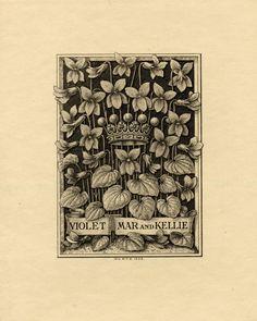 Antique Ex Libris, Crown and Violets.