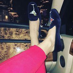 EYE SPY STUBBS! The Countess @ladygaga wearing our MARTINI NAVY Classic Slippers in Vegas with Tony for Sinatra's Birthday  #ladygaga #stubbsandwootton #tonybennett