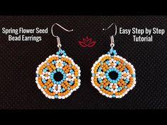 Spring Flower Seed Bead Earrings - Tutorial - YouTube Seed Bead Bracelets Tutorials, Beaded Bracelets Tutorial, Earring Tutorial, Beading Tutorials, Beaded Necklace Patterns, Seed Bead Patterns, Beading Patterns, Loom Beading, Stitch Patterns