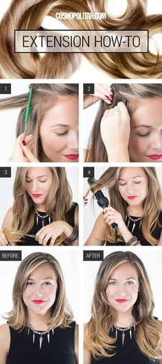 HAIR EXTENSION TIPS AND STYLES: If you have more of a Snow White hair situation going on, but you want to be Rapunzel for the night, then you need to read this! Tommy Buckett, a stylist from the Serge Normant Salon in NYC, shares his secret on getting longer locks in minutes. Plus, this tutorial teaches you how to easily put on and style your extensions and go the extra step to make them look natural and gorgeous. Click through for the easy tutorial, and before and after photos.