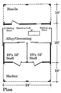 3 Stall Horse Barn Plan Barn Ideas Pinterest Sliding