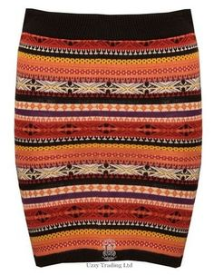 New Ladies Knitted Nordic Fair Isle Patterned Aztec Print Winter Fitted Skirt | eBay
