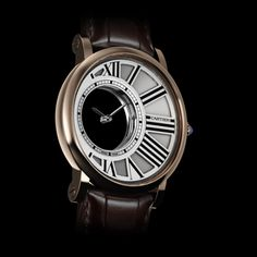 Rotonde de Cartier mystery watch - Manual, pink gold, leather - Fine Timepieces for men - Cartier  $59K
