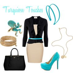 turquiose touches, created by missbbaby on Polyvore