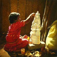 Little Tamil girl, Preparing for Prayer to elephant god Pillaiyar - Painting by S. Elayaraja