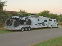 """If this motorhome/toy hauler had a name it would be something like """"Spike"""" or """"Beast. This is probably the world's first motorhome equipped to haul a vehicle… 4x4 Trucks, Custom Trucks, Cool Trucks, Cool Cars, Diesel Trucks, Semi Trucks, Lifted Trucks, Bus Camper, Camper Trailers"""