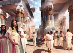 Art rendering of theroyal court of Akhenaten. Life In Ancient Egypt, Ancient Egypt History, Old Egypt, Ancient Aliens, Ancient Greece, Ancient Egyptian Jewelry, Egyptian Art, Egypt Concept Art, Middle Ages History