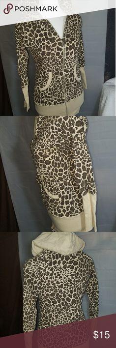 Candies zip up hoodie cheetah print Candies zip up hoodie cheetah print good condition size small Candie's Tops Sweatshirts & Hoodies