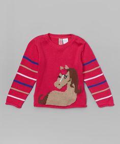 Look what I found on #zulily! Pink Horse Stripe Sweater - Infant, Toddler & Girls #zulilyfinds