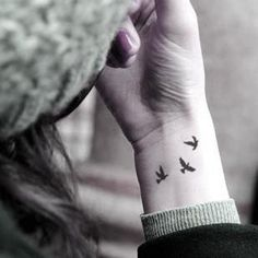 "Find and save images from the ""Tatoo"" collection by Harriet Miller on We Heart It, your everyday app to get lost in what you love. Fake Tattoos, Little Tattoos, Wrist Tattoos, Temporary Tattoos, Small Tattoos, Bird Tattoos, Three Birds Tattoo, Bird Tattoo Wrist, Ribbon Tattoos"