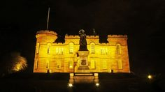 Inverness Castle last night, illuminated in yellow for Marie Curie Inverness Castle, Marie Curie, Daffodils, Monument Valley, Shit Happens, Night, Yellow, Fashion, Moda