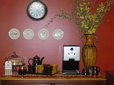 Coffee bar with Pier 1 coffee service set ... next place has a corner in kitchen perfect for my own personal coffee bar!!