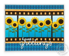 Sunny Studio Stamps Fall Flicks Filmstrip Sunflower Harvest Greetings Card (featuring Preppy Prints 6x6 Patterned Paper)