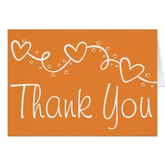 Orange Thank You Love Hearts - Wedding Party Fall Card - wedding thank you gifts cards stamps postcards marriage thankyou