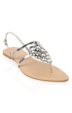 Deb Shops #sliver clustered #gem #sandal with ankle strap