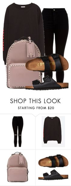 """""""Untitled #1335"""" by ellamidge ❤ liked on Polyvore featuring New Look, Valentino and Birkenstock"""