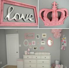 """Nursery from Team Roberts blog - Adore the framed """"love"""" on the wall!  Might have to steal that!"""