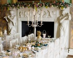 Powderham Castle, no info on which room this is, but like many Castles they drum up wedding business to help with the cost of maintaining such a property.