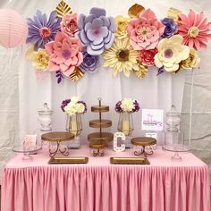 """173 Likes, 10 Comments - Pink Tulip Creations (@pinktulipcreations) on Instagram: """"Today's Table setup. Paper flowers by me. #paperflowerbackdrop #paperflowers #gardenthemeparty…"""""""