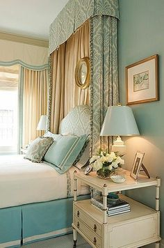 Lovely bedroom palette in blue, cream, and gold with romantic drapery and a staged mirror, rather than a traditional headboard. #love #bedroomdesign | romanticelegancecollections.blogspot.com