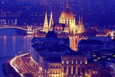 Hungarian Parliament with Danube River. Budapest, Hungary