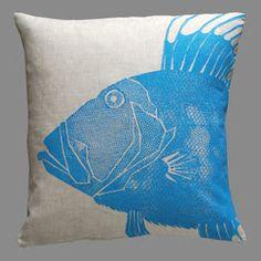 Blue Fish Print Pillow