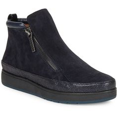 Donald J. Pliner Meira 2 Suede Platform Chelsea Boots ($228) ❤ liked on Polyvore featuring shoes, boots, ankle booties, navy blue, chelsea bootie, platform boots, navy booties, navy blue suede booties and navy blue boots