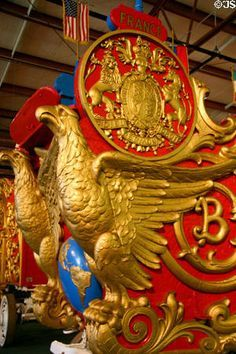 Image result for Eagle carvings on circus wagons Circus Train, Circus Art, Gypsy Wagon, Fantasy Castle, Red Gold, Eagles, Museum, Carving, Game Ui