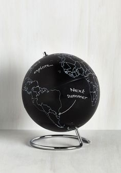 Do dreams of travel have you plotting your next vacay? This globe acts as an interactive map, welcoming your chalk jots of places visited, revisited, and those still unknown.