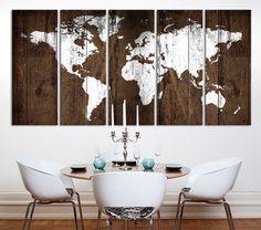 Carte du monde Art mural rustique carte Art par ExtraLargeWallArt