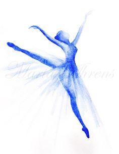 Original Watercolor Painting Blue Ballet Dancer #ballet #ballerina #art #watercolor #dancer #painting #homedecor