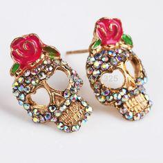 Barato Moda mulheres crânio moda completa forma de decoração com rosa, Compro Qualidade Brinco de brilhante diretamente de fornecedores da China:                                    Método de pagamento                    &nbs