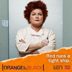 Orange is the New Black features Kate Mulgrew (Star Trek: Voyager) as head prison chef Galina 'Red' Reznikov. #OITNB