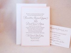 Classic Letterpress Wedding Invitation Suite with blush pink second layer backing