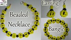 How to Make Beaded Necklace, Earring & Bangle Set ~ Seed Bead Tutorials