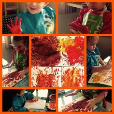 Painting with hands! Autumn colors!