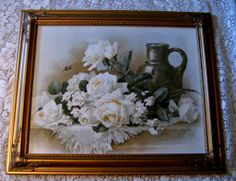 Paul de Longpre White Roses Print Vintage Gold Frame