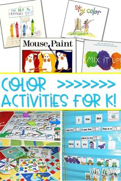 Color Activities for Kindergarten. This back to school color activities are perfect for kindergarten. Students can learn how to start centers with these simple color ideas and worksheets. Color books and video too! Color Activities Kindergarten, Kindergarten First Week, Kindergarten Lesson Plans, Kindergarten Activities, Writing Activities, Color Unit, School Colors, Back To School, Sunday School