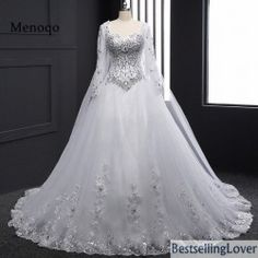 Cheap wedding gowns, Buy Quality bridal wedding gowns directly from China 2017 wedding dress Suppliers: Long Sleeve Bandage Tube Top Crystal Luxury Vestido De Noiva Robe De Mariage 2018 Wedding Dresses Bridal Wedding Gown Luxury Wedding Dress, Long Wedding Dresses, Long Sleeve Wedding, Wedding Gowns, Ivory Wedding, Bling Wedding, Tulle Wedding, Modest Wedding, Silver Weddings
