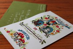 Woodland Party Invite, gnomes, squirrel, toadstools, owl, acorns, flowers...