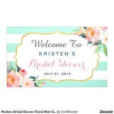 Modern Bridal Shower Floral Mint Green Stripes Banner