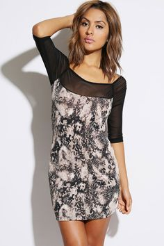#1015store.com #fashion #style mocha leopard animal print mesh inset fitted clubbing mini dress-$10.00