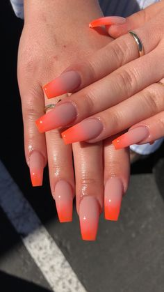 32 Trendy and Glamorous Ombre Coffin Nails for Your Inspiration; Ombré nails Pink orange nails long fingernails Acrylic Gel Nail Art Design Ideas For Summertime 201 Summer Acrylic Nails, Cute Acrylic Nails, Acrylic Nail Designs, Cute Nails, Pretty Nails, Orange Acrylic Nails, Coffin Nail Designs, Colourful Acrylic Nails, Summer French Nails