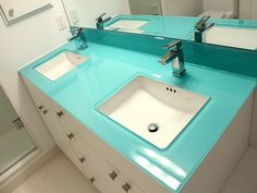 Glass Bathroom Countertop Shown In Backpainted Glass With Double Cutouts  For Undermount Sinks