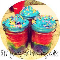 Rainbow mason jar cake.