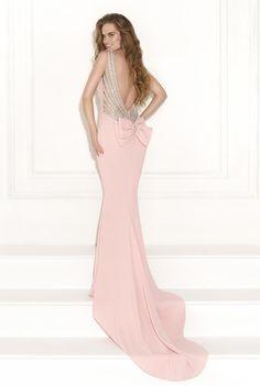 Glamorous Backless Mermaid Sleeveless Beading Bowknot Court Train Long Formal/Evening Dress