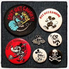 Mice & rats! Patches, buttons or enamel pins! At the PORK SHOP! #patches #enamelpins #blitzkriegbuttons #dontgetcaught #mickeybat #badnews #porkshop #megamall | Flickr - Photo Sharing!